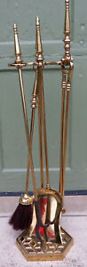 Vintage Solid Brass Fireplace Tool Set Tools