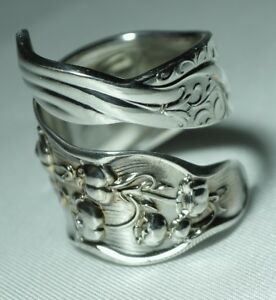Whiting Lily Of The Valley Gorham Bypass Sterling Spoon Ring Sz 7 Free Shipping