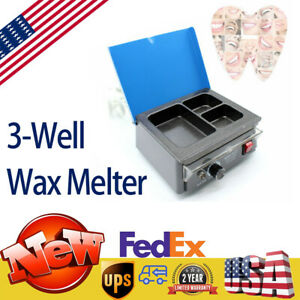 Dental Electric Analog Wax Heater 3 well Paraffin Melting Dipping Pot Non stick