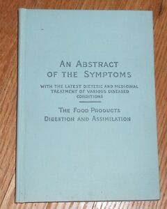 1891 Antique Medical Book Abstract Of The Symptoms By Reed And Carnrick
