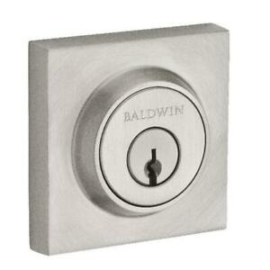 Baldwin Double Cylinder Contemporary Square Deadbolt With Smartkey Satin Nickel