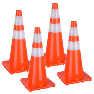 28 Traffic Safety Cones Reflective Collars Overlap Parking Construction 4 Pcs