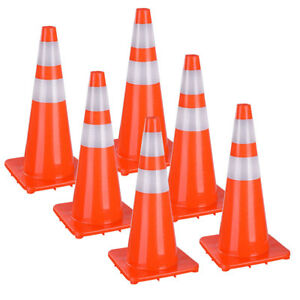 28 Traffic Safety Cones Reflective Collars Overlap Parking Construction 6 Pcs