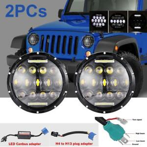 2pcs 7 Round 150w Cree Led Headlights Hi lo For 97 17 Jeep Jk Tj Lj Wrangler