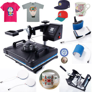 5 In 1 Digital Heat Press Machine Sublimation T shirt mug plate Hat Printer Us