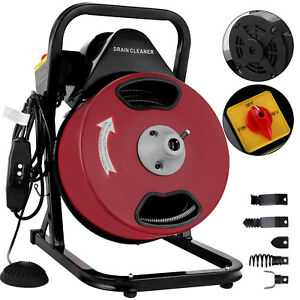 50 Ft Compact Electric Sewer Pipe Drain Cleaner Unclog Unclogger Tool
