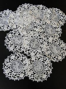 Antique Lace Circa 1900 S Lovey Coasters W Cherubs Filet And Needle Lace