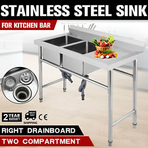 Commercial Stainless Kitchen Sink W right Platform 25 5 Wide Utility Sinks