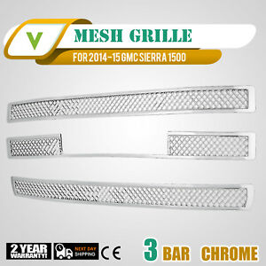 For 2014 15 Gmc Sierra 1500 Chrome Snap On Grille Overlay 3 Bar Grill Covers