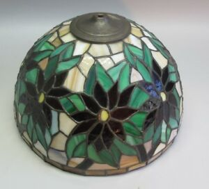 Gorgeous Vintage Poitsettia Leaded Glass Lamp Shade C 1970s Hand Made
