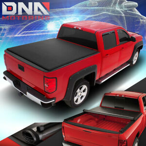 For 2014 2018 Toyota Tundra Fleetside 8ft Long Bed Soft Roll Up Tonneau Cover