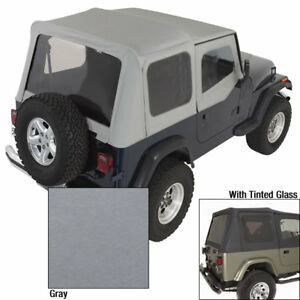 Rugged Ridge 13702 09 Charcoal Tinted Window Soft Top For 88 95 Jeep Wrangler Yj