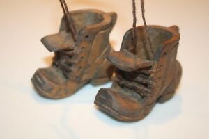 Hand Carved Pair Of Wood Wooden Laced Small Boots Laces Artist Signed Lew Euc