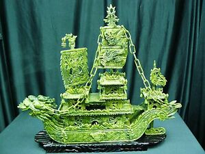 High Quality 24 Green Jade Dragon Boat Bj60