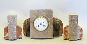 Unique Art Deco Marble Bronze Clock Garniture W Turkeys C 1930 Antique