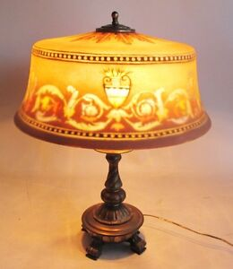 Large Antique Signed Pairpoint Reverse Painted Art Glass Lamp W Original Base