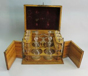 Antique French Cave A Liquour Box W Engraved Decanters Crystal C 1870s