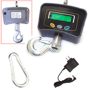 Digital Hanging Scale 500 Kg Black W extra large Lcd Display Multiple Weighing