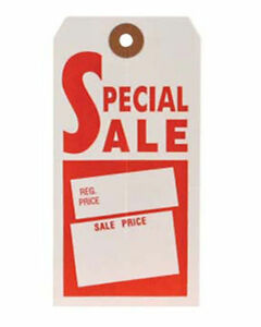 1000 Store Merchandise Red White Special Sale Tag No String 21 2 x43 4 S9412