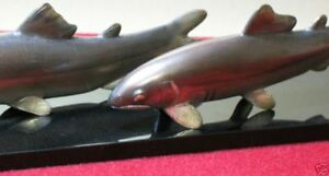 Japanese Okimono Pair Of Sweetfishes Signed