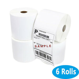 6 Roll 4x6 Direct Thermal Address Shipping Blank Labels For Zebra 2844 450 roll