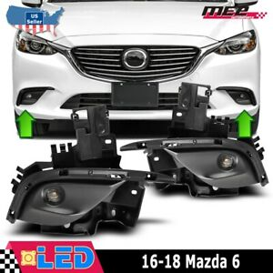 For 2016 2018 Mazda 6 Projector Clear Fog Lights Lamps Pair Set Wiring Kit