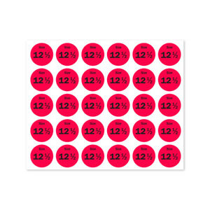 Size 12 5 Sticker Shoes Retail Store Clothing Shop Tag Label 0 75 Round 10pk
