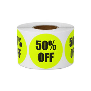 50 Off Sticker Yard Garage Sale Retail Store Clearance Labels 1 5 x1 5 10pk
