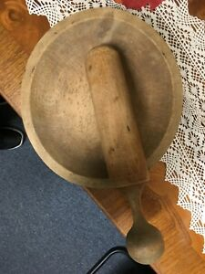Antique 9x8 Large Wooden Mortar And Pestle Bowl 10 Tool
