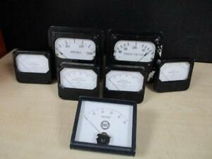 Lot Of 7 Vintage Industrial Style Gauges Meters Electrical Steampunk Decor