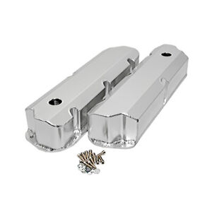 Sbf Ford Polished Fabricated Aluminum Valve Covers Short Bolt 289 302 351w
