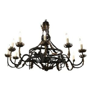 Spanish Colonial Wrought Iron Designer Chandelier By Traditional Imports