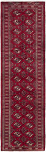 Hand Knotted Persian 3 2 X 10 8 Turkoman Vintage Wool Rug