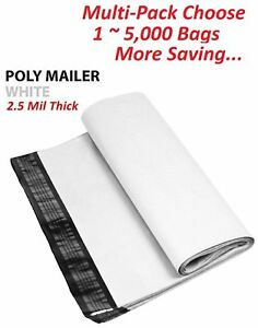 1 5000 Multi pack 5x7 White Poly Mailers Shipping Envelopes Self Sealing Bags