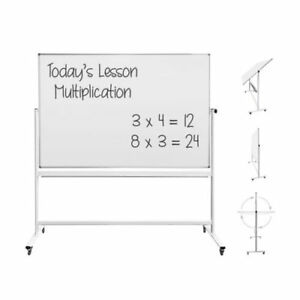 Thornton s Office Supplies Magnetic Reversible Mobile Dry Erase Whiteboard Easel