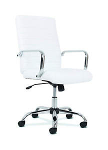 Sadie Executive Computer Chair Fixed Arm For Office Desk White Leather With Ch
