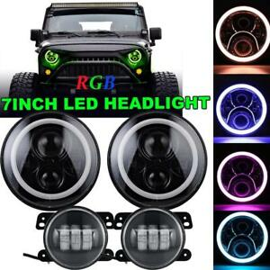 7 Inch Led Rgb Halo Projector Headlights Fog Light Combo For Jeep Wrangler Jl