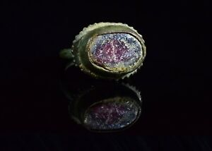 Late Medieval Tudor Period Bronze Ring With Gem Stone T82