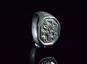 Medieval Crusaders Period Bronze Heraldic Seal Ring With Lion Unicorn T88