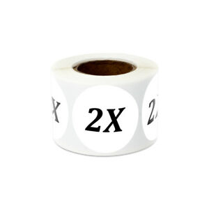 1 25 Round Size 2x Two Extra Large Stickers Clothing Plus Double Labels 10pk