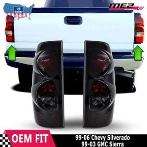 For 99 06 Chevy Silverado 99 03 Gmc Sierra Black Smoke Tail Light Lamp Pair Set