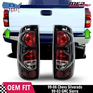 99 06 Chevy Silverado 99 03 Gmc Sierra Glossblack Smoke Tail Light Lamp Pair Set