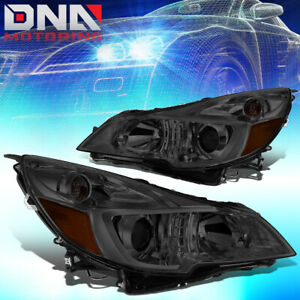 For 2010 2014 Subaru Outback legacy Pair Projector Headlight lamps Smoked amber