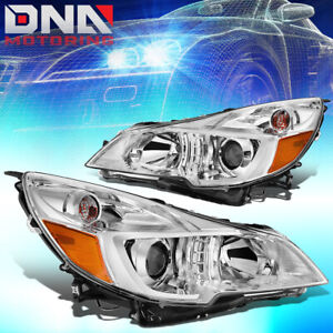 For 2010 2014 Subaru Outback legacy Pair Projector Headlight lamps Chrome amber