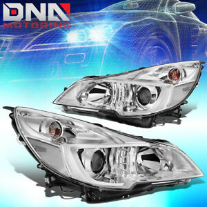 For 2010 2014 Subaru Outback Legacy Pair Projector Headlight Lamps Chrome Clear