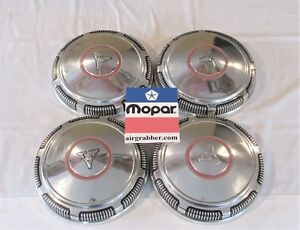1970 71 72 Dodge Charger Challenger Dart Red Circle Dog Dish Hubcaps Set Of 4