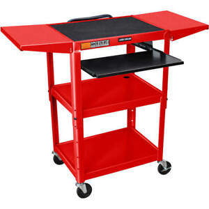 24 To 42 Height Adjustable Av Utility Cart With Keyboard Tray