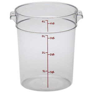 Cambro 4 Qt Camwear Round Food Storage Containers 12pk Clear Rfscw4 135