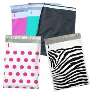 200 9x12 Inch Hot Pink Teal Polka Dot Zebra And Night Black Flat Poly Mailers