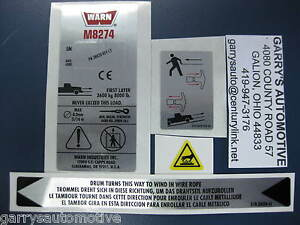 Warn 38307 Winch Replacement Decal Label Kit Set Sticker M8274 50